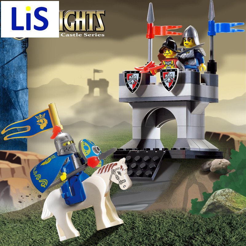 Lis Enlighten 1015 Castle Educational Building Blocks Toys For Children Kids Gifts Horse Knight Compatible With Lepin enlighten 306 pirate ship scrap dock building blocks model toys compatible with lepin educational gift for children