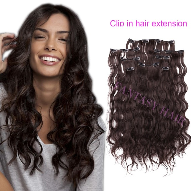 8pcs Lot Brown Cheap Hair Extensions China Long Wavy Body Wave Full Head Clip