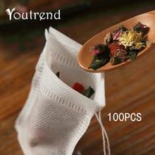 100 個 5*7 センチメートル空のティーバッグ緑茶注入器食品グレードフィルターアクセサリー花茶ストレーナー紙バッグ