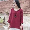 O-cuello de manga Larga de Algodón de Lino de Las Mujeres Camisa de la Blusa Floja Causal sólido Blanco Rojo Verano Camisas Blusas Amarillo Tee Shirt Tops B119