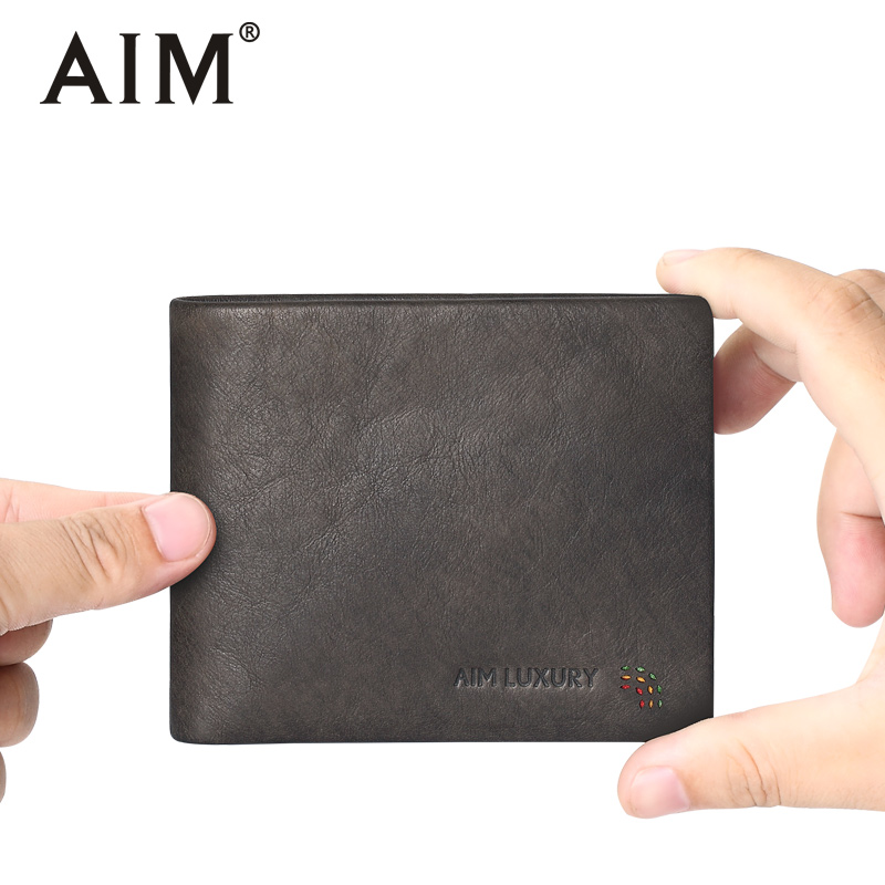 AIM Vintage Khaki Color Men Wallets Cowhider Leather Wallets Small Men Walet Male Portomonee Male Short Purse/Card Holder A503 baellerry small mens wallets vintage dull polish short dollar price male cards purse mini leather men wallet carteira masculina