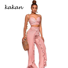 Kakan spring new womens jumpsuit two-piece fashion casual female wide-leg pants suit stitching backless ruffled