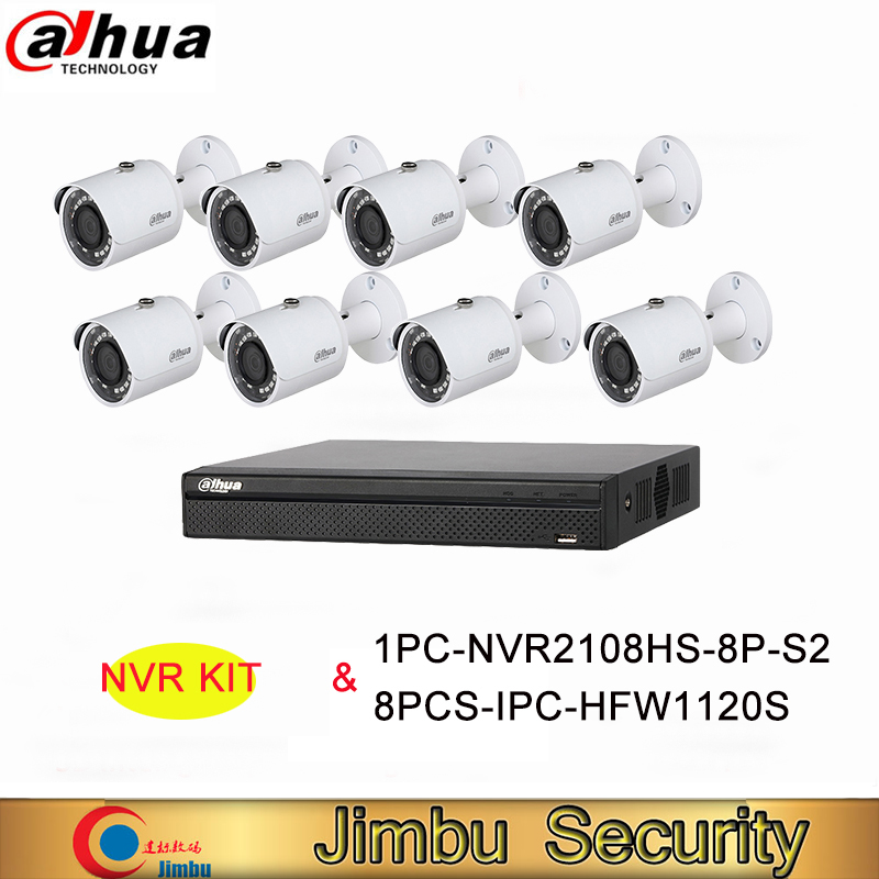 Dahua DVR NVR Kit Video Recorder 8Ch 8PoE 1PC-NVR2108HS-8P-S2&8PCS-IPC-HFW1120S H.264+/H.264 Up to 6Mp IP Camera IR 30M ixfk66n50q2 to 264