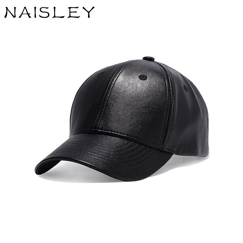 NAISLEY Fashion Cap Men's Summer Leather Monochrome Baseball Cap Female Wild Curved Hat Korea Men Hat Outdoor Stage Hip Hop Cap