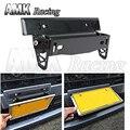 AMKracing-* NEW * Estilo MUGEN Ajustable De Fibra De Carbono Look Bumber Plate, marco de la matrícula con Cinco tipos de logo stickers1381A