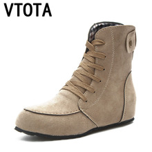 VTOTA Boots Female Autumn Boots Flat Martin Boots Lace Up Casual Ankle Boots Gre