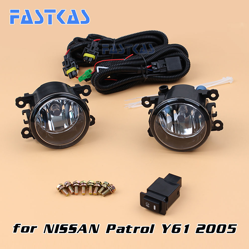 12v 55W Car Fog Light Assembly for Patrol Y61 2005 Front Left and Right set Fog Light Lamp with Harness Relay Fog Light Kit 12v 55w car fog light assembly for ford focus hatchback 2009 2010 2011 front fog light lamp with harness relay fog light