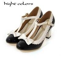 Patent deri kalın topuk yüksek topuklu ayakkabı kadın t tipi toka yay büyü renk kızlar dans prenses single ayakkabı kadın pompalar