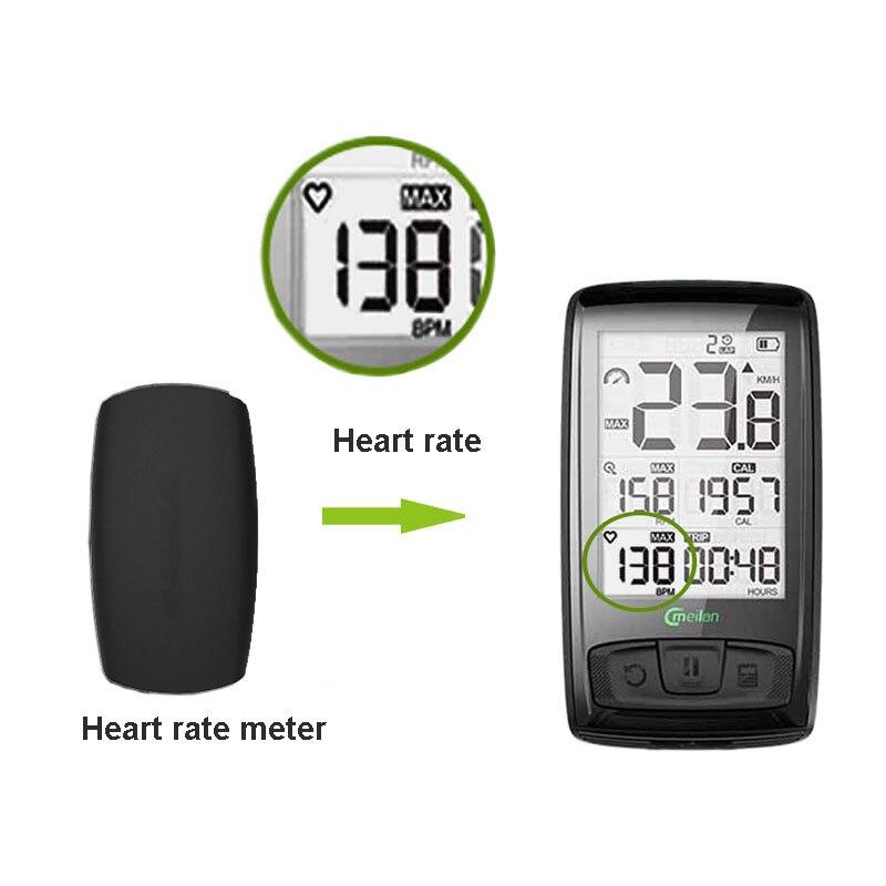 Ordinateur de vélo sans fil compteur de vitesse de vélo Tachymètre Cadence + Vitesse Capteur Météo SETB avec bluetooth moniteur de fréquence cardiaque - 5