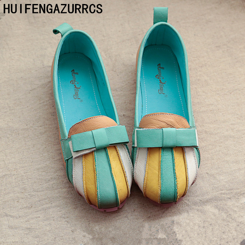 HUIFENGAZURRCS-New style Pure handmade Casual real leather Rainbow strip shoes,Retro art mori girl Candy color Bow Fltas shoes huifengazurrcs new style pure handmade