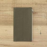 Olive Green Canvas Zipper Pocket For Traveler S Notebook Accessory Standard Regular Size Paper Card Holder