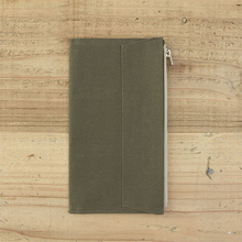 Office School Supplies - Filing Products - Olive Green Canvas Zipper Pocket For Traveler's Notebook Accessory Standard Regular Size Paper Card Holder Storage Bag