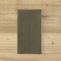 Olive Green Canvas Zipper Pocket For Traveler S Notebook Accessory Standard Regular Size Paper Card Holder
