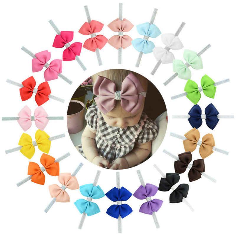 新 13 スタイル Baby Girl ヘッドバンドの毛の弓グログランリボンの弓のヘアバンド新生児幼児ストレッチ固体かわいいアクセサリー