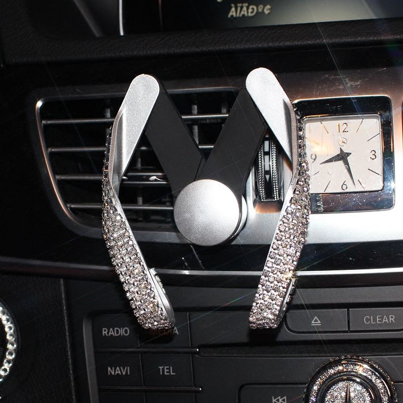 Luxury Diamond Rhinestone Car Phone Holder For Mobile Phone Universal Air Vent Mounts Clip Holder GPS Holder Adjustable Styling