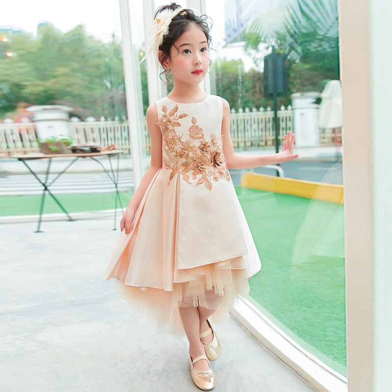 Children's dress 2018 new style summer children's dress model catwalk princess dress girls dress sleeveless front short long girls button front cami dress