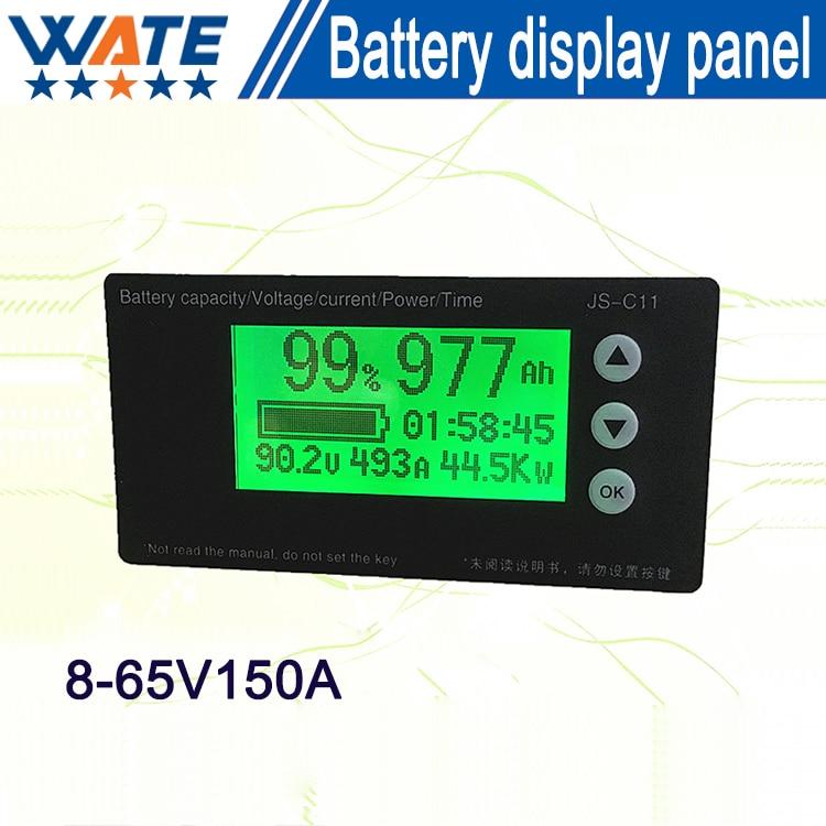 Free shipping 8-65V150A Lifepo4 battery Capacity Indicator coulombmeter battery capacity display board 2016 new lithium battery battery capacity indicator lcd digital percentage residual capacity display