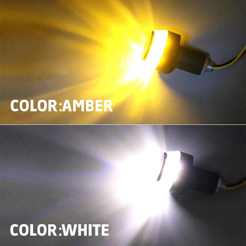 Светодиодный предупреждающий сигнальный свет Индикатор мигалка Ручка Бар Конец Руль парковочные огни мигающий мотоцикл светодиодный Белый Янтарный HLXG 2 шт
