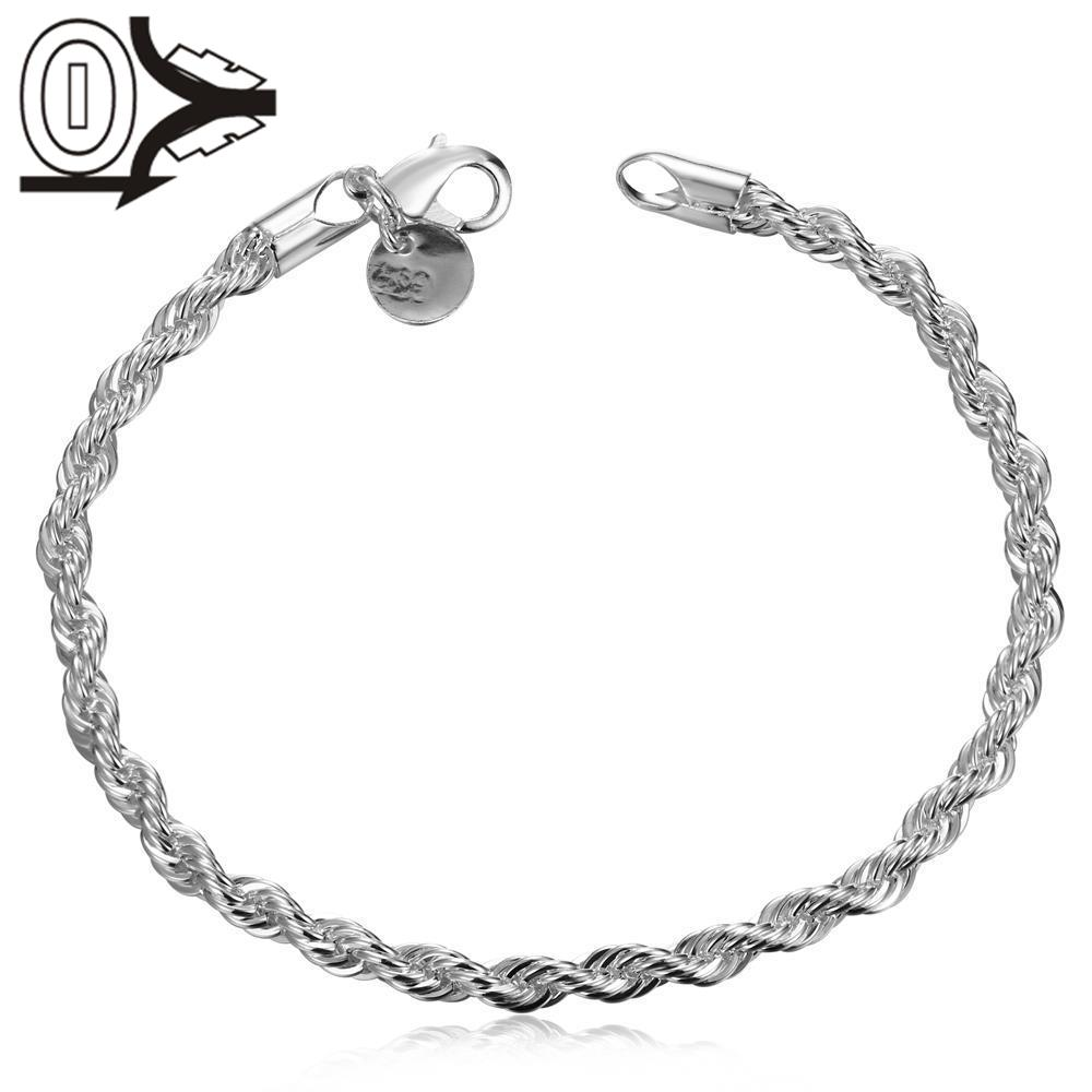 2016 Wedding Gift Silver Plated snake chain Bracelet,Fashion Silver Flash Twisted Rope Bracelets Bangle charm beads,4MM*20CM
