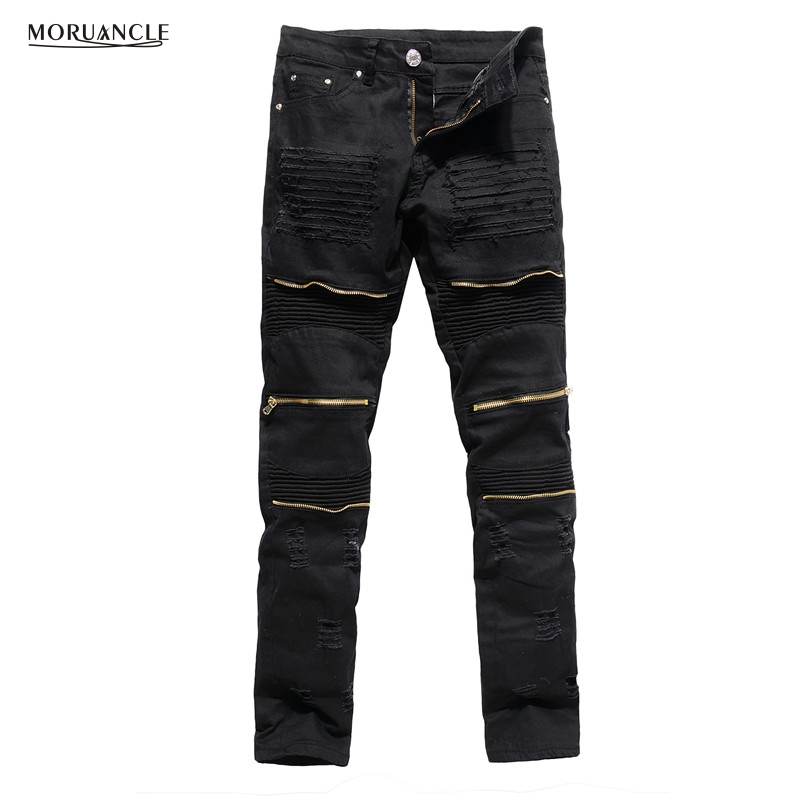 MORUANCLE Men's Designer Ripped Biker Jeans Slim Fit Distressed Moto Stretch Denim Trousers For Male Gold Zipper Red Black White moruancle fashion mens ripped biker jeans pants brand designer distressed denim joggers for male slim fit straight moto trousers