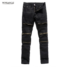 MORUANCLE Men's Designer Ripped Biker Jeans Slim Fit Distressed Moto Stretch Denim Trousers For Male Gold Zipper Red Black White