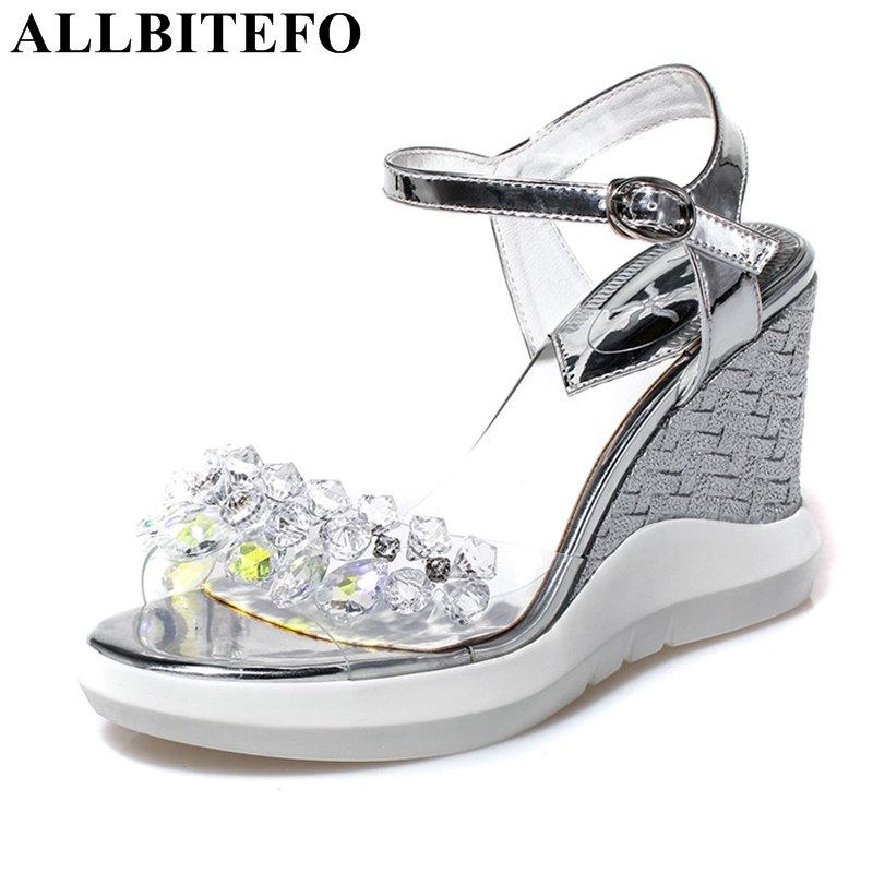 ФОТО ALLBITEFO fashion sweet Rhinestone wedges heel platform wedding shoes high heel shoes women sandals summer sandals ladies shoes