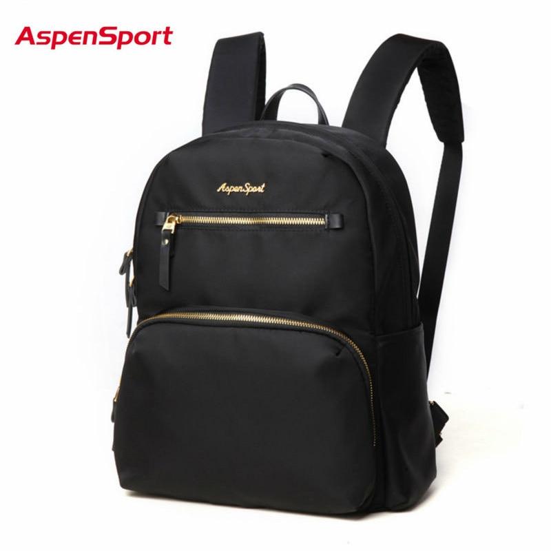 AspenSport  Lady Women Canvas Backpacks Mochila Casual School Bags For Teenage Girls Female Fashion Travel 8L Black/Navy
