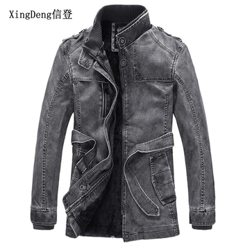 XingDeng PU Leather Brand warm Jackets Mens Casual motorcycles belt long overcoats Winter wool Male top clothes plus size 5XL