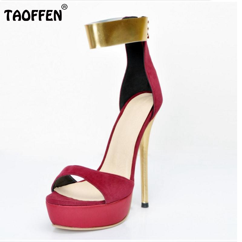 ФОТО Size 34-47 Fashion Ladies High Heel Sandals Thin Heels Women Shoes metal Ankle Strap Patrty Sandlias Back Zipper Soft Sandals