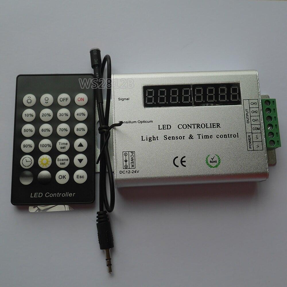 Haute qualité 24 clé IR à distance led bande lumière intelligente capteur de lumière et contrôleur contrôlé par le temps; DC12-24V