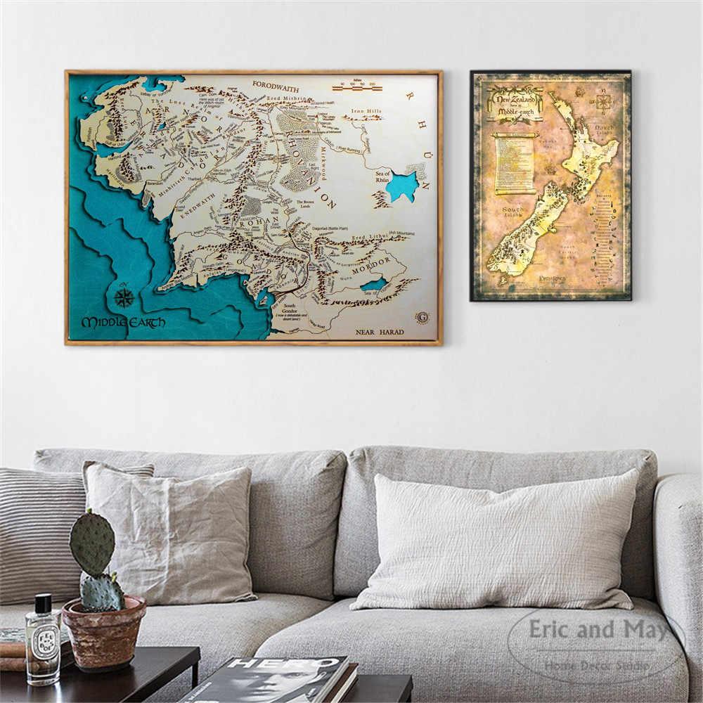 ミドルアースの地図クラシックアートポスターと版画壁アートキャンバスの絵画室内装飾家の装飾非フレームクアドロス