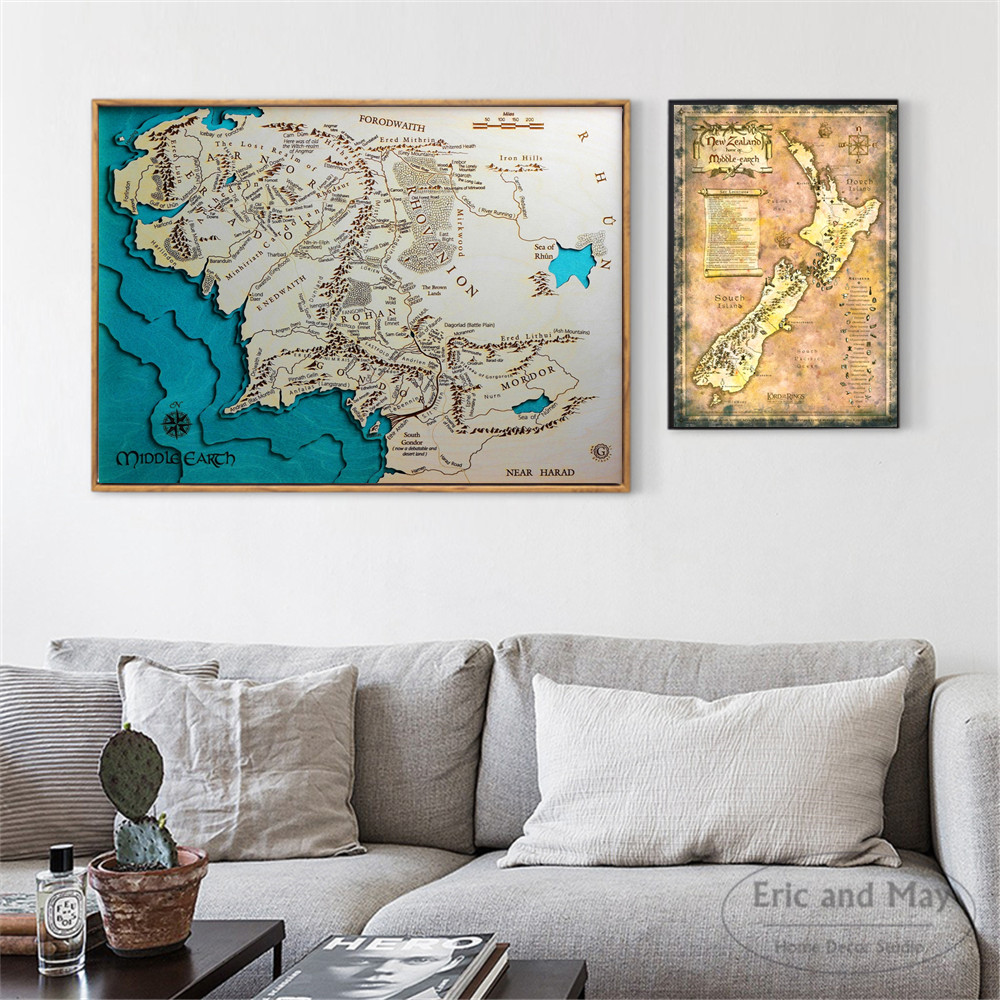 Middle Earth Map Classic Art Posters And Prints Wall Canvas Painting For Living Room Decoration Home Decor Unframed Quadros