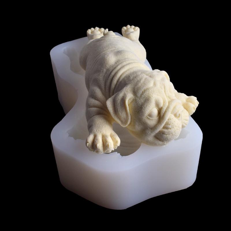 Nouveau moule de gâteau de chocolat de mousse de chien de sable 3D, super 6 pouces gel de chien bricolage cuisson décoration silicone gel moules WMJ-924