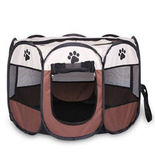 8-Sides Portable Pet Tent Waterproof Foldable Dog House Cage Cat Playpen Puppy Kennel Easy Operation Outdoor Supplies