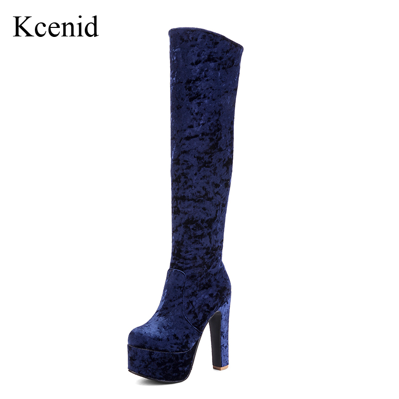 Kcenid Winter new sexy women velvet boots fashion round toe 13.5cm high heels platform shoes over the knee boots plus size 33-48 enmayer sexy red shoes woman high heels bowties charms size 34 47 zippers round toe winter over the knee boots platform shoes page 1