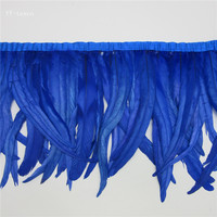wholesale 10yards long Royal blue high quality natural rooster feather trims trimming with Satin Ribbon 30 35cm for women skirt