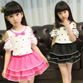 Children's New Sweet Heart Girls Love Summer Suit Two Pieces Dresses Short Skirt Lace Kids Clothing Sets Pink Black