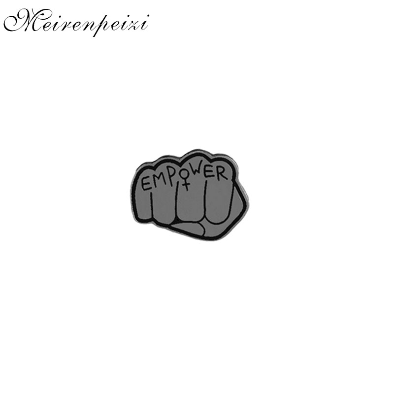 Inspired Empower Fist Enamel Pin Badge Hard Metal Brooches Pins Feminist Art Cute Jewelry for Women Girls Gift