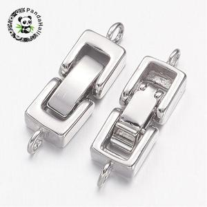 Image 2 - Brass Watch Band Clasps, Fold over Clasps, 1 Hole, Cadmium Free & Nickel Free & Lead Free , Platinum, 24x7x4mm, Hole: 1mm