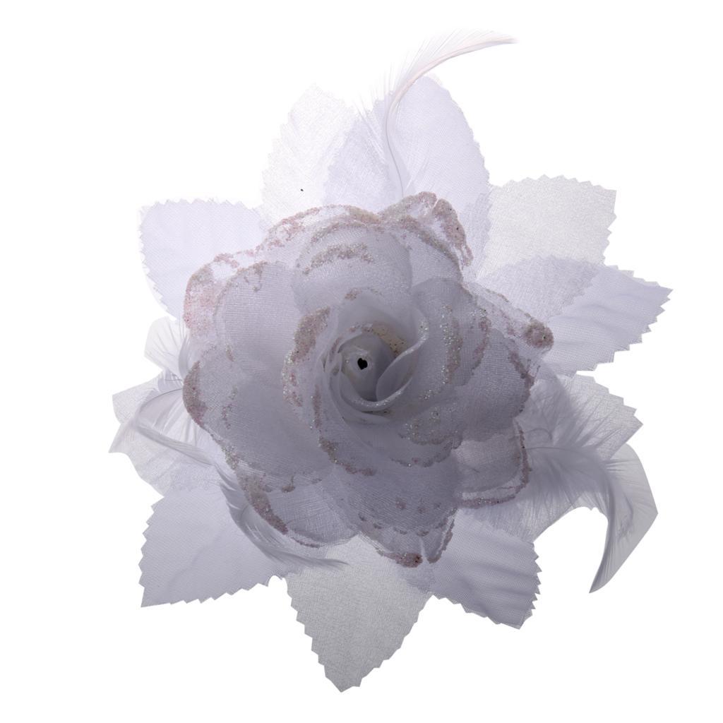 Best Sale Feather Organza Roses White Hair Band Scrunchy Hair