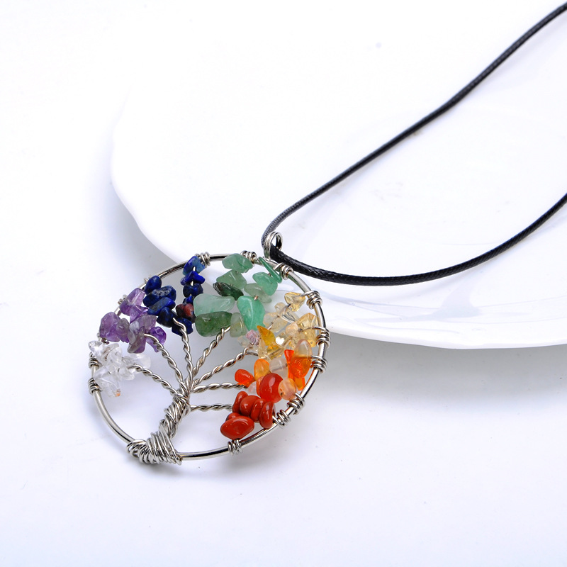 Tree of Life Pendant Necklace Rainbow Spiritual Chakra Healing Stone Crystal Gem