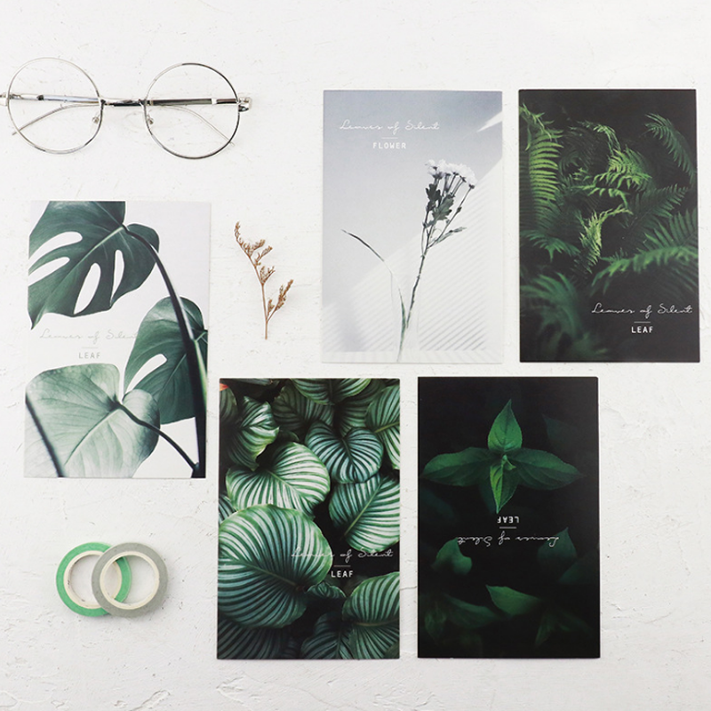 30 Pcs/pack Cute Leaves of Silent Postcards Leaf Plant