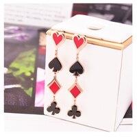 Poker rojo Negro Rosa de Color de Oro Pendientes de Gota del Acero Inoxidable