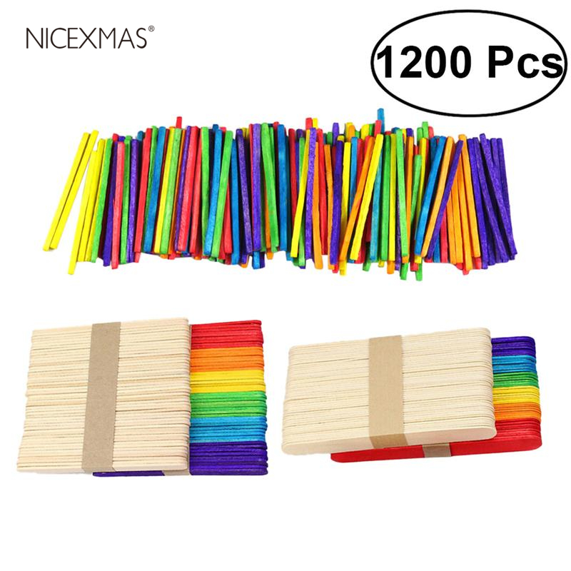1200PCS Kids Wood Craft Sticks Colorful Wood Preschool Popsicle Creative Designs Bars Sticks Toys For Toddlers DIY Craft