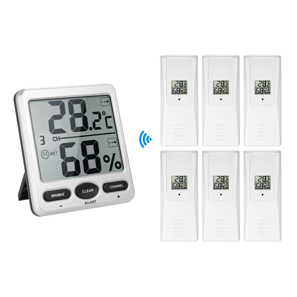 1 to 6 Thermometer Remotes Sensor Emitter Wireless Digital Thermo-Hygrometer Console Receiver 10% to 99% Humidity Range 10% 99% rh humidity controller 220v 10a digital hygrometer with humidity sensor high accuracy for home industry