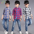 Los bebés varones blusas de alta calidad de la tela escocesa camisetas toddler clothing niños prendas de abrigo de primavera otoño adolescente camisa menino niños tops