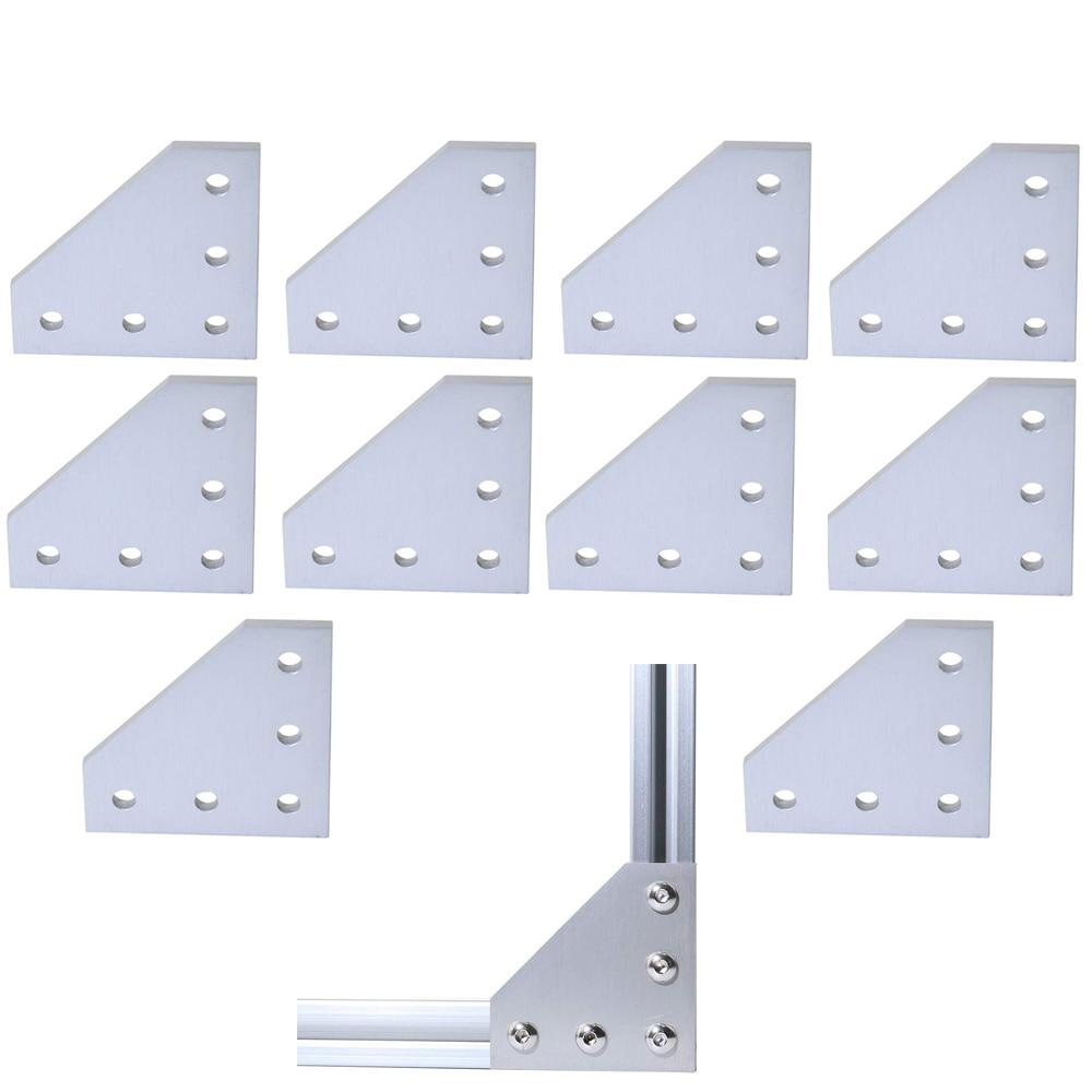 10pcs/lot 3D Printer Aluminum L Shaped 5 Hole 60x60x4mm Joining Plate for 2020 v-slot/L-slot Aluminum Extrusion