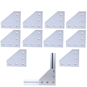 Image 1 - 10pcs/lot 3D Printer Aluminum L Shaped 5 Hole 60x60x4mm Joining Plate for 2020 v slot/L slot Aluminum Extrusion