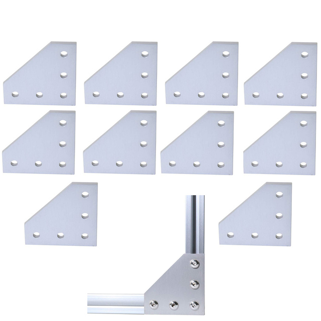 10pcs/lot 3D Printer Aluminum L Shaped 5 Hole 60x60x4mm Joining Plate for 2020 v slot/L slot Aluminum Extrusion