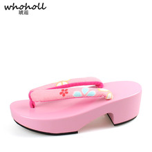 WHOHOLL Japanese Clogs Wooden Wedge Geta Cosplay Women Kimono Flip-flops Solid Pink Paint Anti-skid Slippers Small Size 33 34